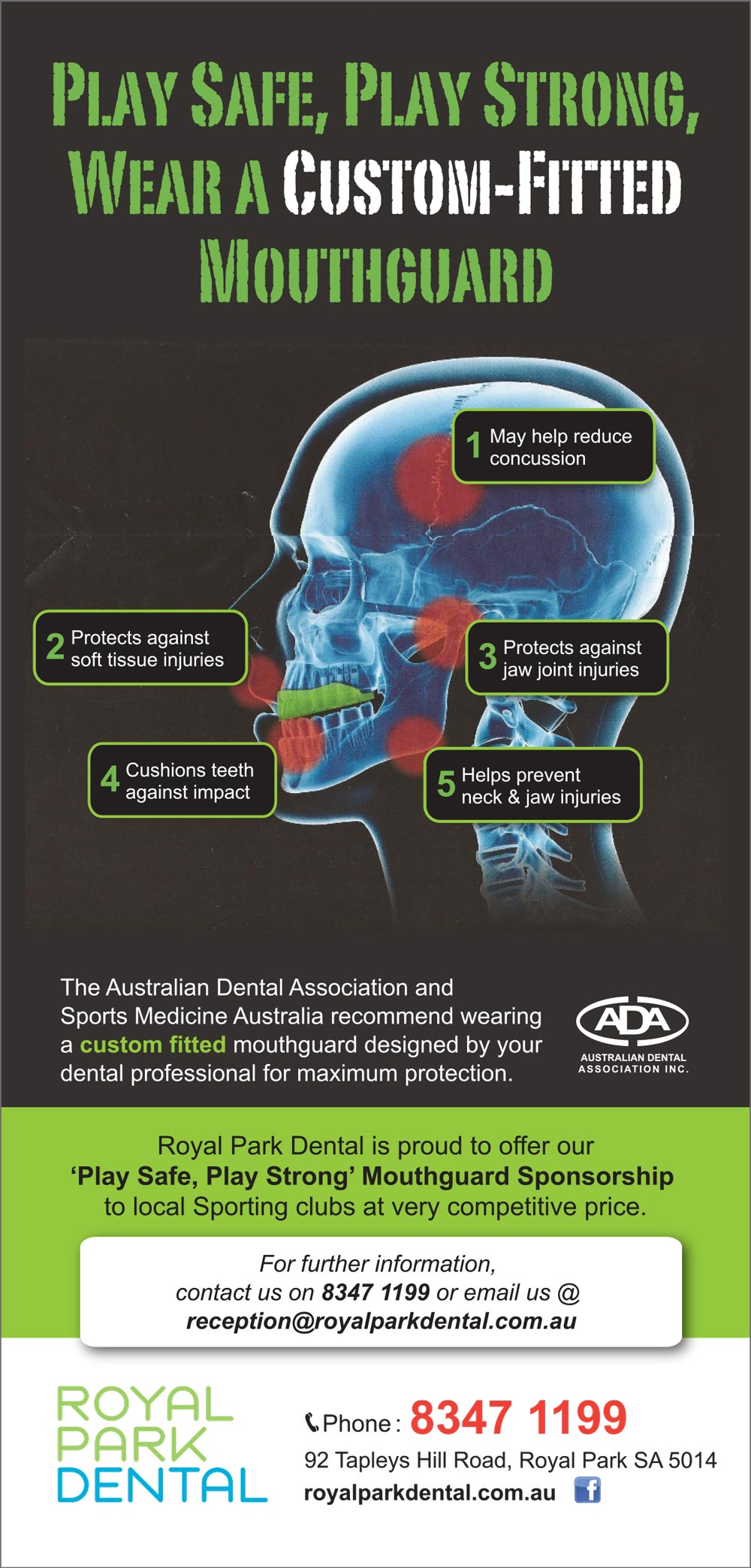 Royal Park Dental Mouthguard Flyer